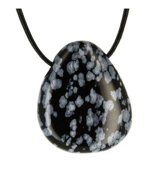 Pendentif pierre percée Obsidienne flocon de Neige