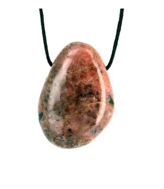 Pendentif pierre percée Rhodonite