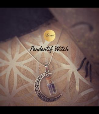 Pendentif  Witch, lune et fiole de cristaux