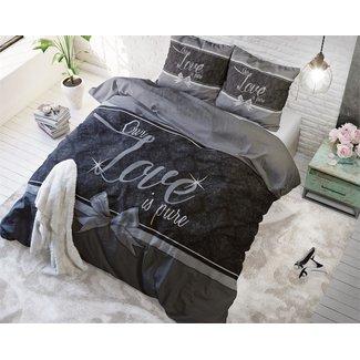 Sleeptime Dekbedovertrek Sleeptime Pure Love Grey Katoen  ( 140 x 200/220- 1 x 60 x 70 cm)
