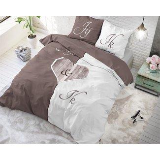 Sleeptime Dekbedovertrek Sleeptime Jij en Ik Taupe Katoen ( 140 x 200/220 - 1x 60 x 70 cm)