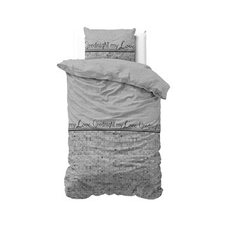 "Sleeptime ""2 halen = 1 betalen"" Dekbedovertrek Sleeptime Goodnight my Love Grey Katoen Blended (140 x 200/220 cm - 1 x 60 x 70 cm)"