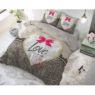 "Sleeptime ""2 halen = 1 betalen"" Dekbedovertrek Sleeptime Wild Love 3 Taupe Katoen Blended"