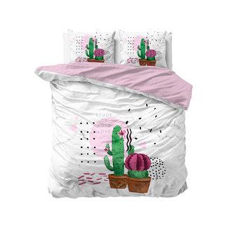 """Sleeptime """"2 halen = 1 betalen"""" Dekbedovertrek Sleeptime Love your Cactus White Katoen Blended"""