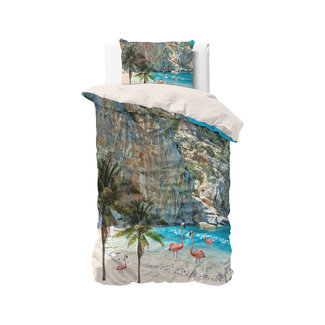 "Sleeptime ""2 halen = 1 betalen"" Dekbedovertrek Sleeptime Flamingo Beach Blue Katoen Blended"