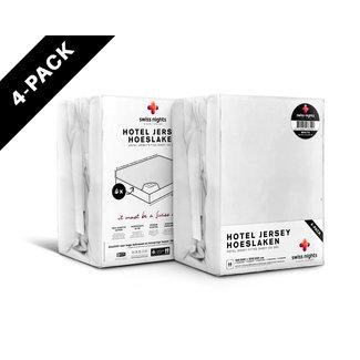 """Swiss Nights """"2 halen = 1 betalen"""" Hoeslaken Swiss Nights - Jersey - Wit - 4 pack"""