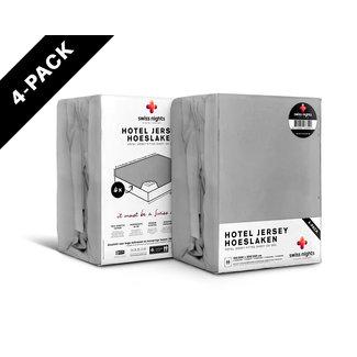 "Swiss Nights ""2 halen = 1 betalen"" Hoeslaken Swiss Nights - Jersey - Grijs - 4 pack"