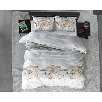 """Sleeptime """"2 halen = 1 betalen"""" Dekbedovertrek Powerfull Tiger White Flanel"""