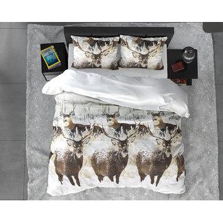 """Sleeptime """"2 halen = 1 betalen"""" Dekbedovertrek Winter Deer White Flanel"""