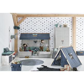 LIFETIME kidsrooms 4-in-1 Kinderbed Greywash met dakconstructie
