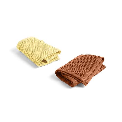 HAY HAY set 2 dish cloths Waffle yellow & terracotta