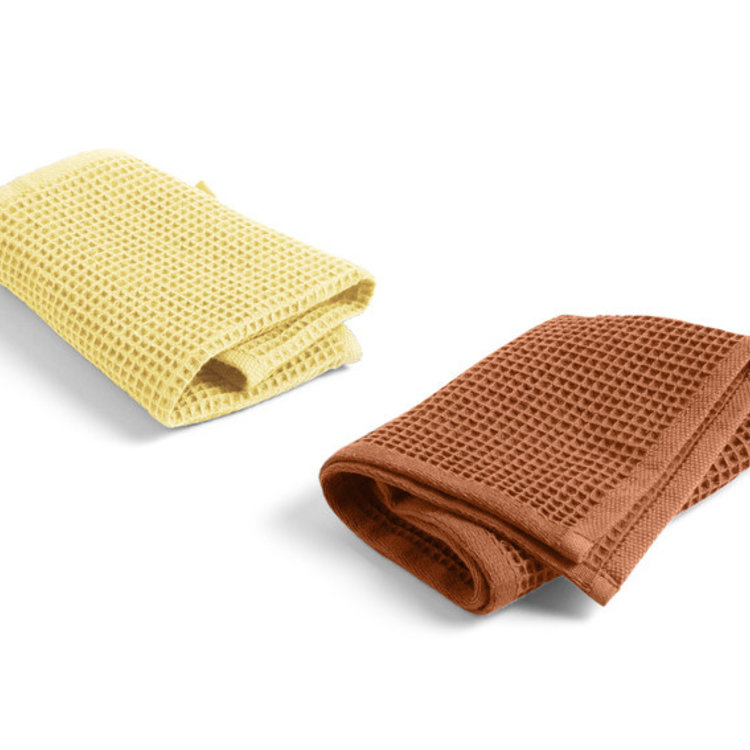 HAY HAY set of 2 Waffle dish cloths in yellow & terracotta