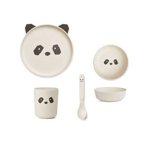 Liewood Bamboo Tableware Box Set Panda creme de la creme
