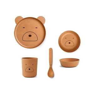 Liewood Bamboo tableware box Bear mustard