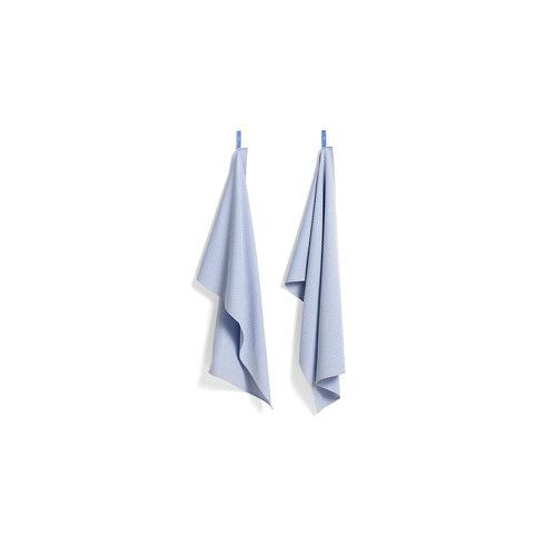 HAY HAY set 2 tea towels Check blue