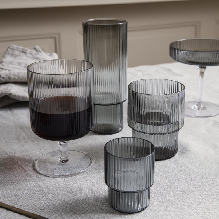 ferm LIVING Ripple glas grijs set van 4
