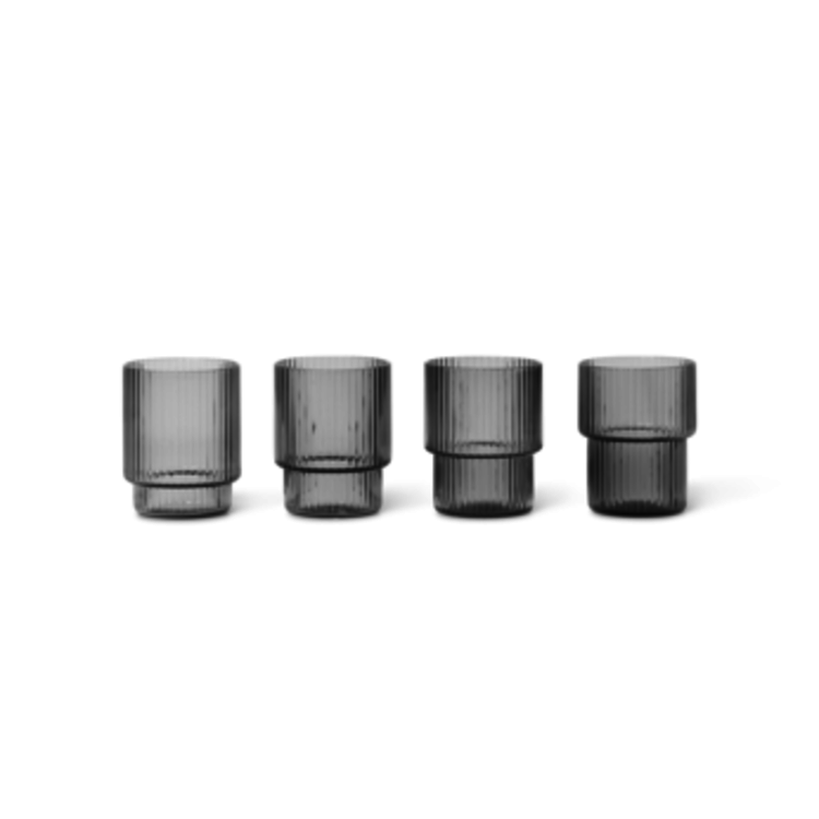 ferm LIVING Ripple Glass - Set of 4 - Smoked Grey