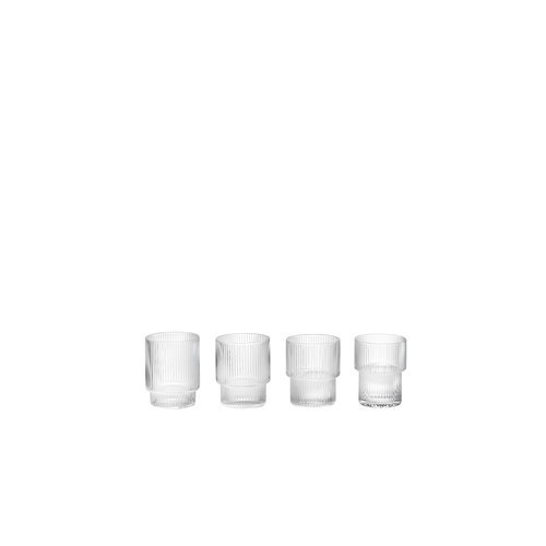 ferm LIVING Set 4 Ripple glasses clear