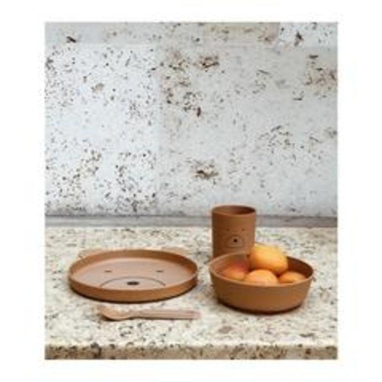 Liewood Bamboo tableware box Bear mustard