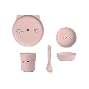 Liewood Bamboe serviesset  Kat roze