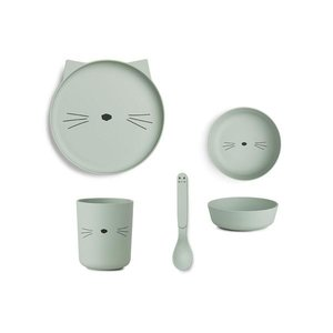 Liewood Bamboo Tableware Box Set  Cat dusty mint