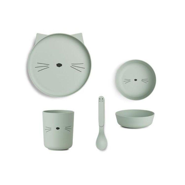 Liewood Bamboo Tableware Box  Cat dusty mint