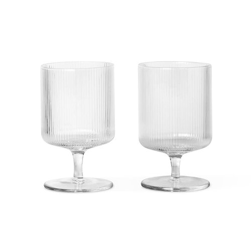 ferm LIVING Set 2 wine glasses Ripple clear