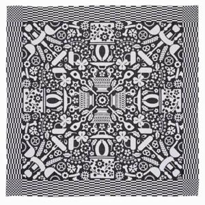 Textielmuseum Studio Job tea towel Folklore black