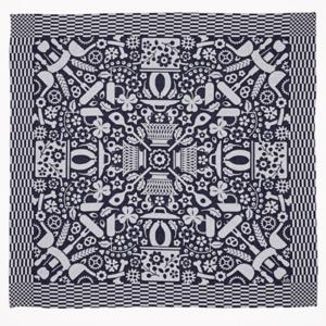 Textielmuseum Studio Job theedoek Folklore blauw