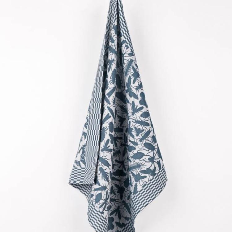 Textielmuseum Studio Job tea towel Insects blue