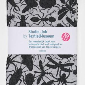 Textielmuseum Studio Job theedoek Insects zwart