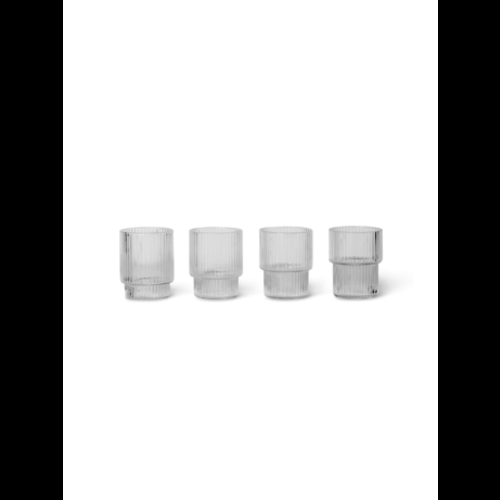 ferm LIVING Ripple set  of 4 small glasses clear
