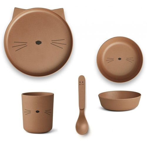 Liewood Bamboo table ware box Cat terracotta