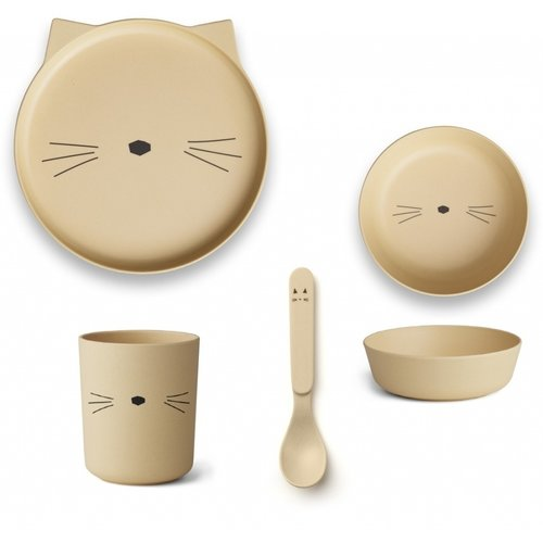 Liewood Bamboo table ware Cat yellow