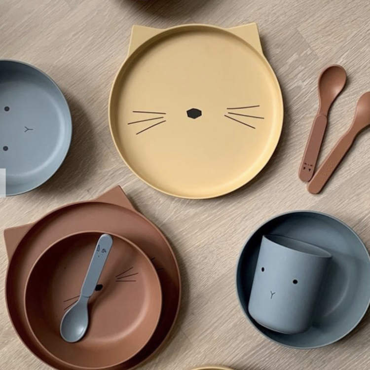 Liewood Bamboo table ware Rabbit sea-blue