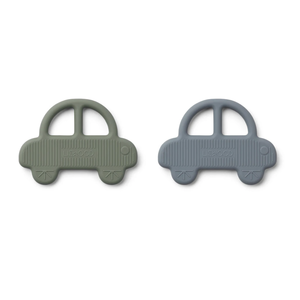 Liewood Geo teether car 2-pack green & blue