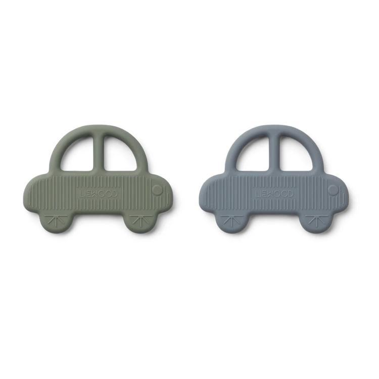 Liewood Geo bijtring auto 2-pack groen & blauw