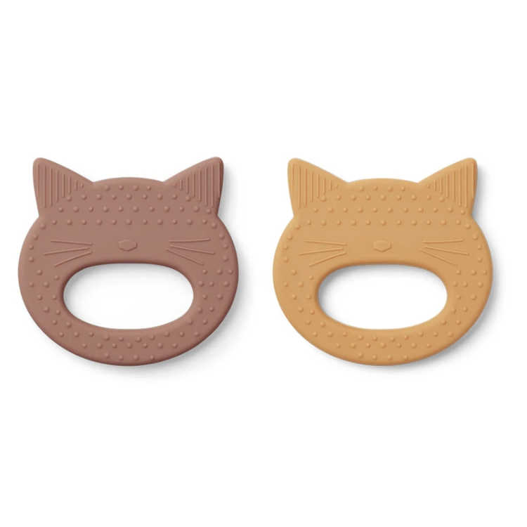 Liewood Geo Teether Cat 2 pack pink yellow