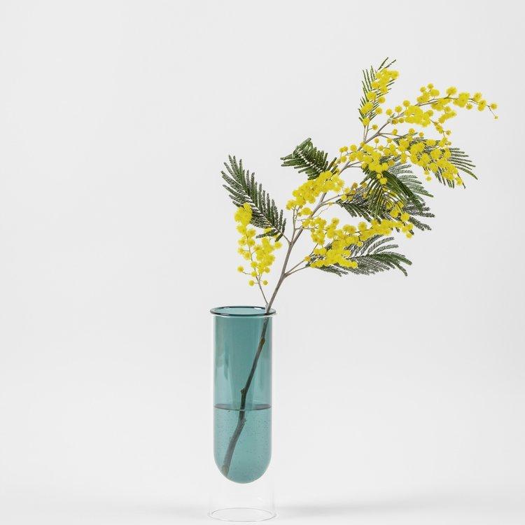 Studio About Flower Tube cyaan hoog
