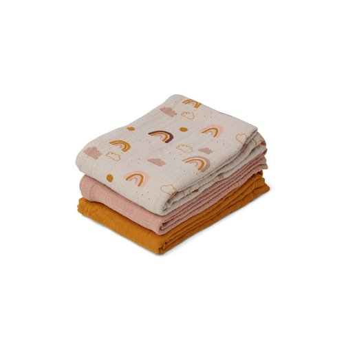 Liewood Line Muslin Cloth 3 Pack - Rainbow love mix