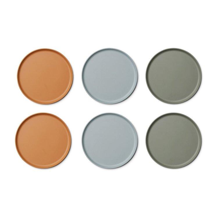 Liewood Patrick Bamboo Plates 6 Pack - Blue multi mix