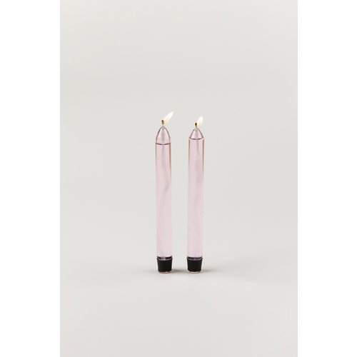 Studio About Studio About set of 2 glass candle pink