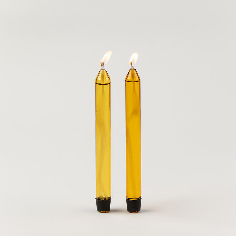 Studio About Studio About set of 2 glass candle yellow
