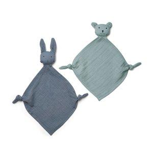 Liewood LW Yoko mini knuffel set van 2 blauw