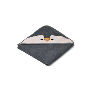 Liewood Albert hooded baby towel Penguin grey