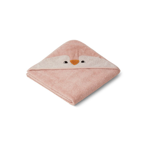 Liewood Albert baby hooded towel Penguin pink