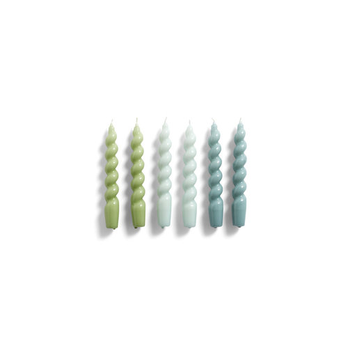 HAY Set of 6 candles Spiral green arctic blue