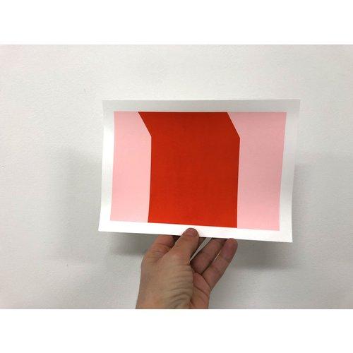 Groen+Akker Zeefdruk roze-rood 15x21 cm
