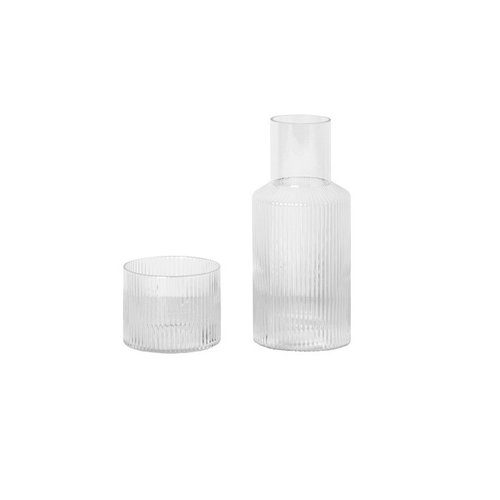 ferm LIVING Set Ripple small carafe + glass