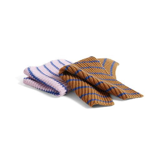 HAY HAY set vaatdoek Stripe blauw roze bruin